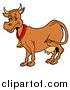 Vector of a Brown Dairy Cow with Full Udders, Wearing a Bell Around Its Neck by LaffToon