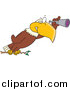 Vector of a Cartoon Bald Eagle Using a Telescope by Toonaday