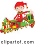 Vector of a Cartoon Christmas Elf Presenting and Sitting on a Toy Train by Pushkin