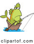 Vector of a Cartoon Fish Fishing in a Wooden Boat by Toonaday