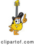 Vector of a Cartoon Guitar Mascot Pointing Finger up by Toons4Biz