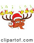 Vector of a Cartoon Santa Reindeer with Singing Birds by Zooco