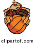 Vector of a Cartoon Turkey Mascot Holding a Basketball by Chromaco