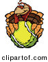 Vector of a Cartoon Turkey Mascot Holding out a Tennis Ball by Chromaco