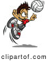 Vector of a Cartoon Volleyball Boy Jumping to Hit the Ball by Chromaco