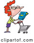 Vector of a Cartoon Woman in a Grocery Store Reading Fine Print on Box of Food by Toonaday