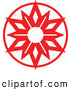 Vector of a Christmas Snowflake in Red Circle by Zooco