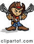 Vector of a Competitive Cartoon Cowboy Pointing Two Handguns by Chromaco