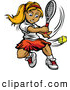 Vector of a Competitive Cartoon Female Tennis Player Hitting a Ball by Chromaco