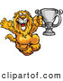 Vector of a Competitive Cartoon Lion Celebrating with a Silver Trophy by Chromaco
