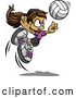 Vector of a Competitive Cartoon Volleyball Girl Leaping Towards and Preparing to Hit the Ball by Chromaco