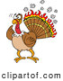 Vector of a Confused Cartoon Turkey with Flames Burning His Feathers by LaffToon