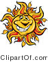 Vector of a Friendly Cartoon Sun Mascot with Big Smile by Chromaco