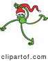Vector of a Green Cartoon Frog Dancing While Wearing a Santa Hat by Zooco