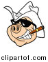 Vector of a Grinning Pig Wearing Shades and a Cowboy Hat, Smoking a Cigar by LaffToon