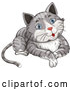 Vector of a Happy Blue Eye, Gray Tabby Cat by Graphics RF
