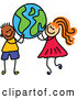 Vector of a Happy Cartoon Black Boy and a White Girl Carrying a Globe by Prawny