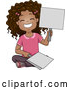 Vector of a Happy Cartoon Black School Girl Holding Placard Answer Signs by BNP Design Studio