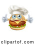 Vector of a Happy Cartoon Cheeseburger Chef Character Giving Two Thumbs up by AtStockIllustration