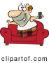 Vector of a Happy Cartoon Couch Surfer Man Standing on His Sofa with a TV Remote Control by Toonaday