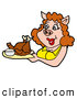 Vector of a Happy Cartoon Female Pig Serving Baked Turkey or Chicken on a Platter by LaffToon