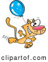 Vector of a Happy Cartoon Orange Cat Running with a Blue Balloon by Toonaday