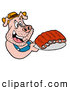 Vector of a Happy Cartoon Pig Holding Plate of BBQ Ribs by LaffToon
