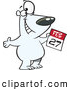 Vector of a Happy Cartoon Polar Bear Holding with a February 27th Calendar Day - Polar Bear Day by Toonaday