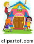 Vector of a Happy Kids Painting a Big Easter Egg House by BNP Design Studio