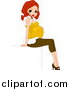 Vector of a Happy Young Red Haired Pregnant Woman Posing by BNP Design Studio