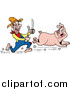Vector of a Hungry White Hillbilly Man Chasing a Pig with a Knife and Fork by LaffToon