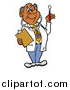 Vector of a Male Senior Hispanic Doctor in a Lab Coat, Wearing a Stethoscope, Holding a Clip Board and Looking at a Thermometer by LaffToon