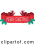Vector of a Merry Christmas Blank Ribbon Banner with Holly by Visekart