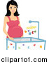 Vector of a Pregnant Woman by a Crib by BNP Design Studio