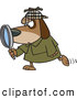 Vector of a Private Investigator Cartoon Dog Looking Through a Magnifying Glass While Walking Forward by Toonaday