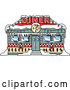 Vector of a Retro Diner in Snow During Christmas by Andy Nortnik