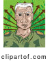 Vector of a Senior Military Soldier with Determined Expression - Cartoon Style by Paulo Resende