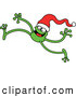 Vector of a Smiling Long-Legged Cartoon Green Frog Walking Forward While Wearing a Santa Hat by Zooco