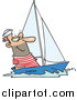 Vector of a Smiling Sailor Sailing a Small Sail Boat - Cartoon Style by Toonaday