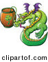Vector of a St. Patrick's Day Cartoon Dragon Drinking Beer from Clover Keg by Zooco
