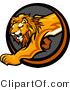 Vector of a Stalking Lion Mascot Stepping out from a Dark Circle Cave Icon by Chromaco