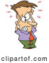 Vector of a Stressed Cartoon Businessman Holding His Overloaded Head by Toonaday