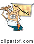 Vector of a Stressed Cartoon Businessman Noticing Recession on His Chart by Toonaday