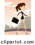 Vector of a Stylish Business Woman Walking on an Urban Sidewalk by BNP Design Studio