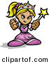 Vector of a Tough Cartoon Princess Holding up Fists and a Wand by Chromaco
