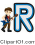 Vector of Alphabet Letter R with a Rock Star Boy by BNP Design Studio