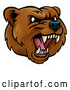 Vector of an Aggressive Rival Cartoon Grizzly Bear Mascot Growling by AtStockIllustration