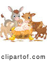 Vector of Baby Jesus Surrounded by Animals by Pushkin