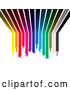 Vector of Background of Dipping Rainbow Paint Lines Curving from a Wall up onto a Ceiling by Michaeltravers