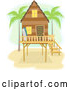 Vector of Beach House on Stilts with Palm Trees and Surf Boards by BNP Design Studio